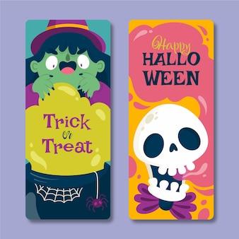 Set di banner verticali piatti di halloween disegnati a mano