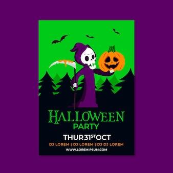 Modello di poster verticale piatto di halloween disegnato a mano
