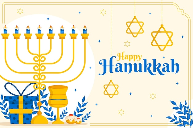 Sfondo di hanukkah piatto disegnato a mano
