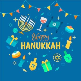 Illustrazione di hanukkah piatta disegnata a mano