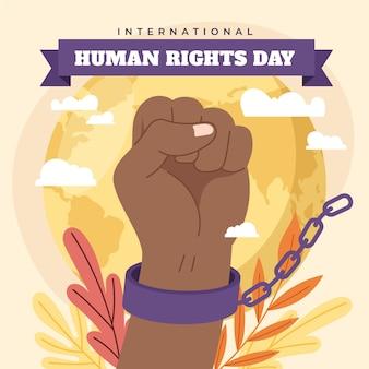 Illustrazione piana disegnata a mano della giornata internazionale dei diritti umani