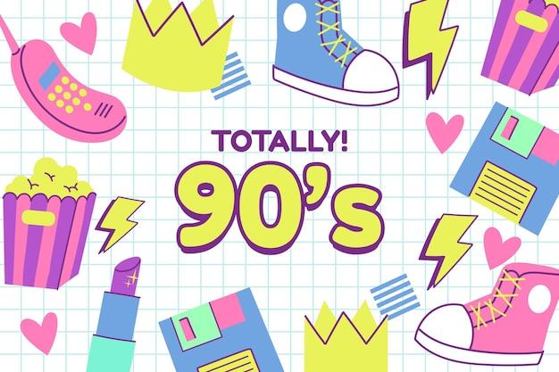 Sfondo piatto nostalgico anni '90 disegnato a mano