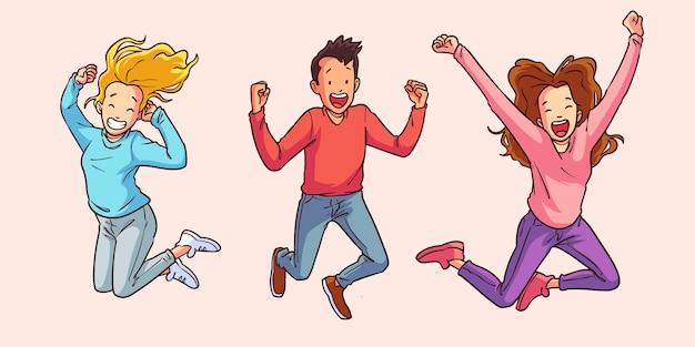 Persone piatte disegnate a mano che saltano