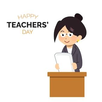 Concetto di giorno degli insegnanti piatto disegnato a mano