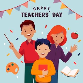 Illustrazione piatta del giorno degli insegnanti disegnata a mano