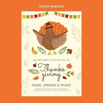 Modello di poster verticale piatto del ringraziamento disegnato a mano