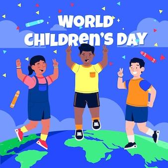 Illustrazione della giornata mondiale dei bambini piatta disegnata a mano