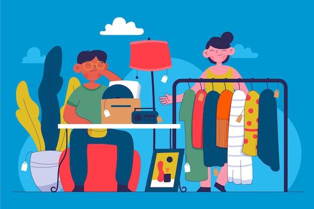 Illustrazione disegnata a mano di concetto del mercato delle pulci