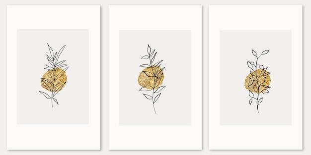 Poster astratti estetici floreali disegnati a mano elementi botanici e linea d'arte a forma di texture oro