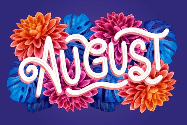 Iscrizione di agosto floreale disegnata a mano