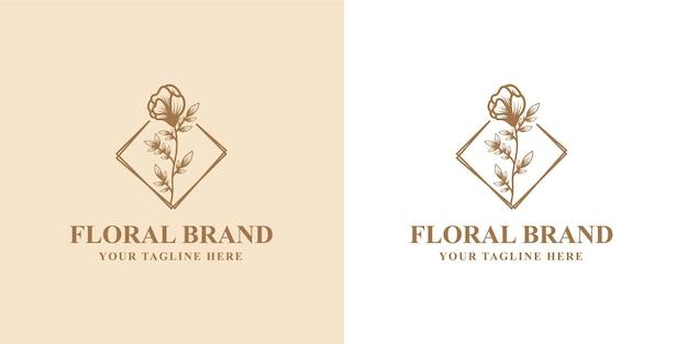 Cornice con logo botanico floreale disegnato a mano