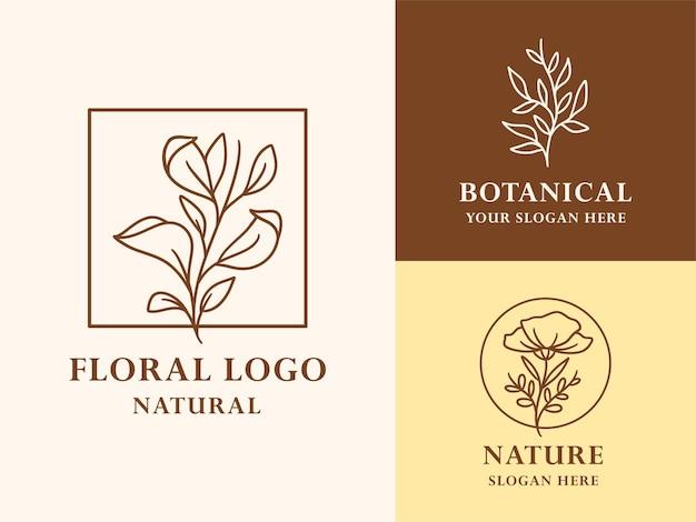 Collezione di illustrazioni di logo botanico floreale disegnato a mano per bellezza