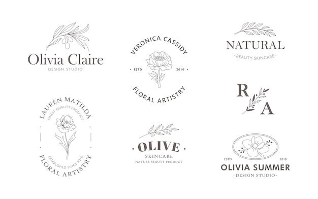 Collezione di modelli di loghi floreali e botanici disegnati a mano