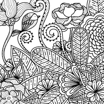 Disegnata a mano floreale e fiori per adulti da colorare