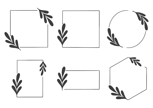 Modello di carta di invito cornice di nozze logo cornice floreale disegnata a mano