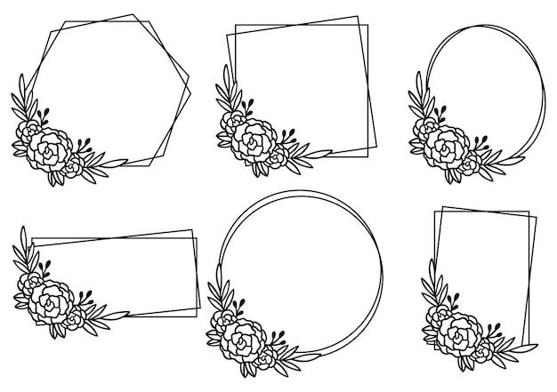 Modello di cornice floreale disegnata a mano