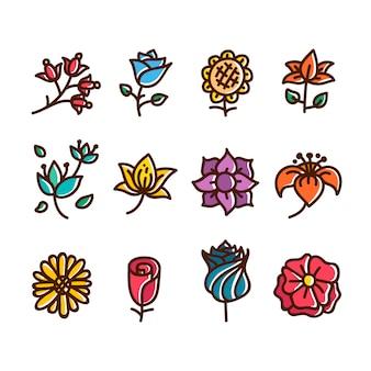 Collezione di icone floreali disegnati a mano
