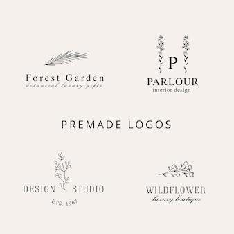 Collezione di loghi floreali disegnati a mano logo in stile line art con foglie di fiori di piante di fiori di campo