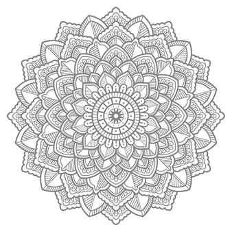 Illustrazione di mandala floreale disegnata a mano con disegni al tratto