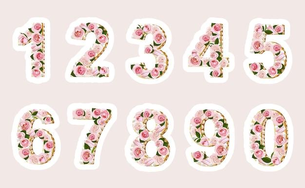 Collezione di design per torte con numeri floreali disegnati a mano