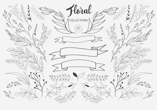 Vettore disegnato a mano degli ornamenti floreali