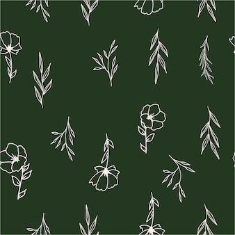 Modello senza cuciture floreale disegnato a mano carta da parati del wildflower del fogliame vector