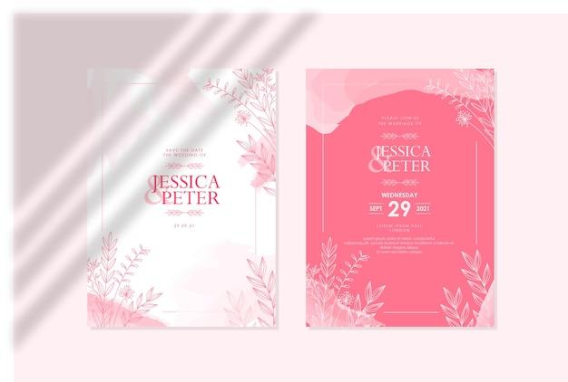 Elegante modello di invito di matrimonio rosa acquerello floreale disegnato a mano