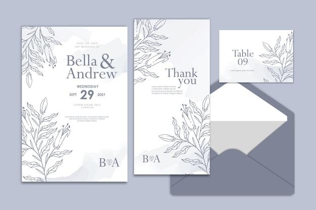 Collezione di modelli di invito di matrimonio acquerello floreale disegnato a mano