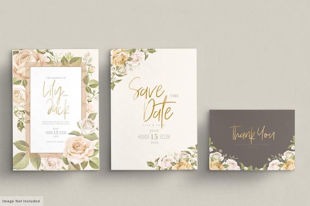 Set di carte invito matrimonio floreale disegnato a mano