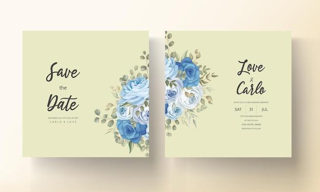 Modello di carta di invito matrimonio floreale disegnato a mano