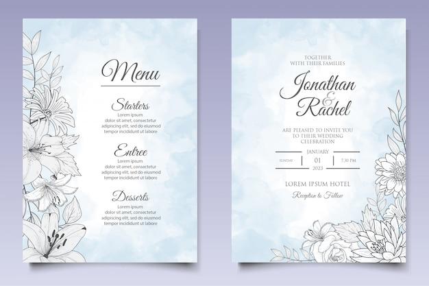Modello floreale disegnato a mano di progettazione dell'invito di nozze