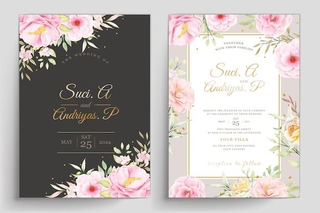Modello di invito a nozze floreale disegnato a mano
