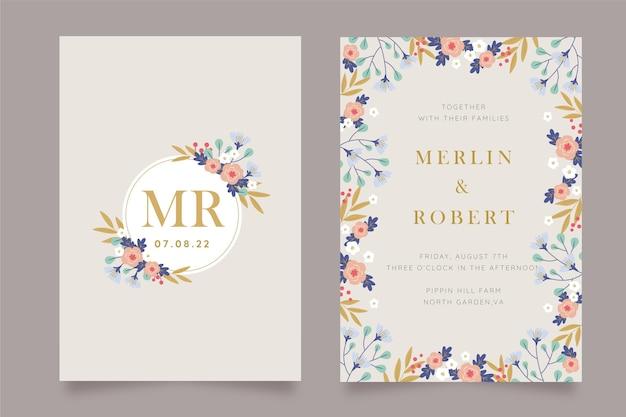 Modello di invito a nozze floreale disegnato a mano Vettore Premium