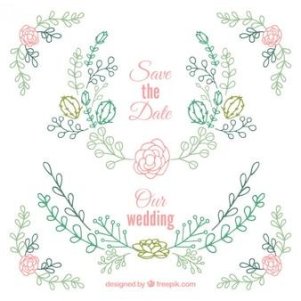 Disegno a mano ornamenti di nozze floreali con cactus