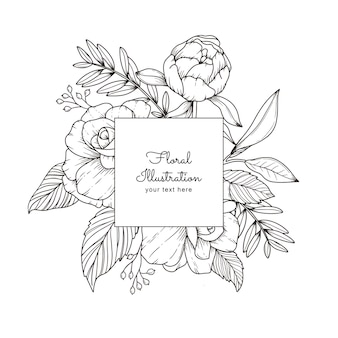 Corona floreale disegnata a mano e vettore di cornice