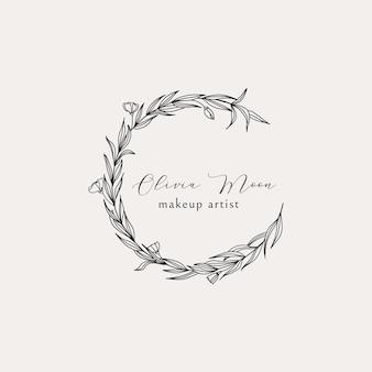 Logo e monogramma di ghirlanda floreale disegnati a mano elegante elemento botanico di arte di linea