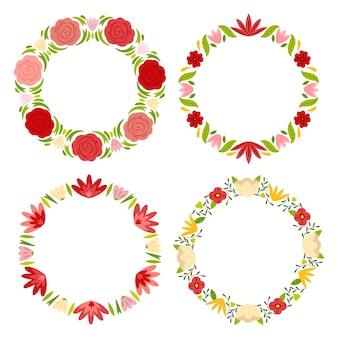 Set di ghirlande floreali disegnate a mano