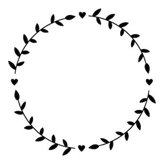 Ghirlanda floreale disegnata a mano su bianco