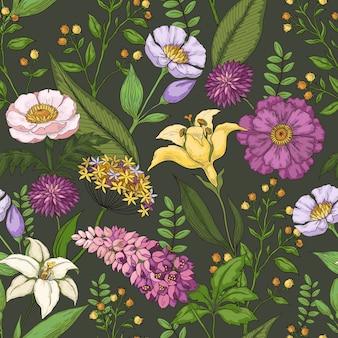 Illustrazione disegnata a mano del modello di fiore Vettore Premium