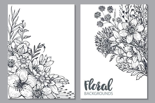 Piante e fiori disegnati a mano. illustrazioni monocromatiche in stile schizzo.