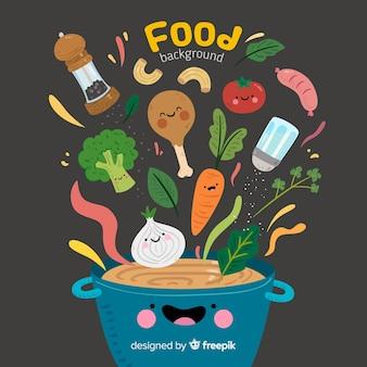 Sfondo di cibo disegnato a mano Vettore Premium