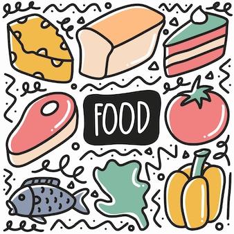 Doodle di cibo disegnato a mano impostato con icone ed elementi di design
