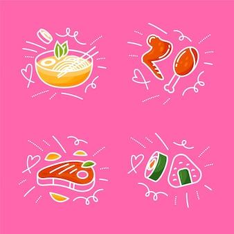Confezione di scarabocchi alimentari disegnati a mano