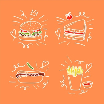 Doodles di cibo disegnati a mano
