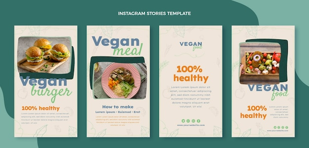 Modello di storie di instagram di cibo disegnato a mano