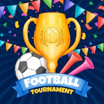 Illustrazione disegnata a mano del torneo di calcio