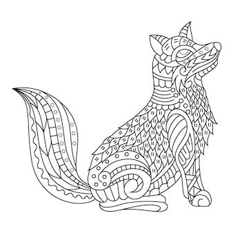 Disegnato a mano di volpe in stile zentangle