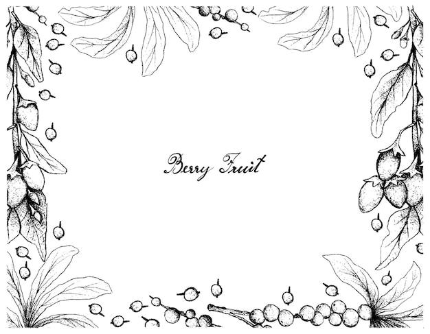 Cornice disegnata a mano di bacche di goji e frutta di daphne di febbraio