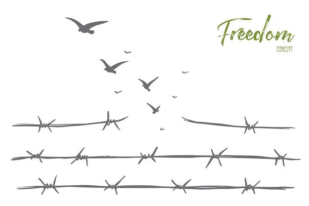 Schizzo di concetto di libertà disegnato a mano con filo spinato rotto e gregge