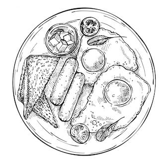 Uova fritte disegnate a mano con salsicce, pomodoro, burro e toast. schizzo colazione vista dall'alto.